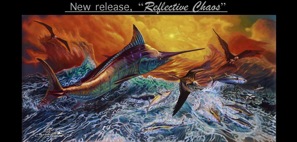 blue marlin, tuna, jason mathias, pelagic, ocean wave, tunas busting, marlin jumping, frigate birds, flying fish, sunset, prints, painting, art picture, gift ideas, gamefish, sportfish