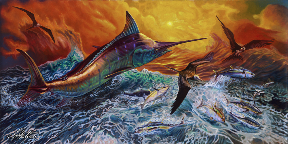 original-blue-marlin-jumping-after-busting-tuna-and-flyingfish-sunset-rough-seas-jason-mathias-art-painting-prints-gamefish-sportfish.jpg
