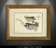 """""""Framed prints"""" Speckled Trout"""" by artist Jason Mathias masterfully portrays two Gator Speckled SeaTrout ambushing a school of finger mullet."""