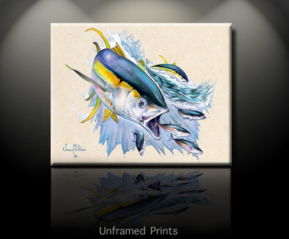 """Unframed Prints of Yellowfin Tuna"" In this vision, skilled artist Jason Mathias masterfully portrays a couple of Yellowfin Tuna lighting up as they strike a school of Skipjack Tuna."