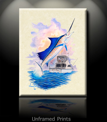 """""""Unframed Prints of My Other Honey"""", skilled artist Jason Mathias masterfully portrays a leaping Sailfish lighting up and thrashing while putting up a good fight aboard the """"My Other Honey""""."""