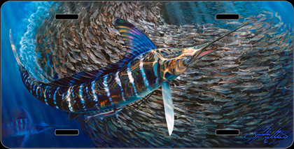 Jason Mathias Heavy Duty Aluminum Metal License Plates! Artwork of a Striped Marlin balling up a giant BaitBall of Tinker Mackrel is Featured in a Radiant Shiny High Gloss! A perfect gift for the avid fisherman who enjoys sportfishing, gamefish and art.