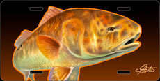 Jason Mathias Heavy Duty Aluminum Metal License Plates! Artwork of a Redfish is Featured in a Radiant Shiny High Gloss! A perfect gift for the avid fisherman who enjoys sportfishing, gamefish and art.