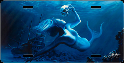 Jason Mathias Heavy Duty Aluminum Metal License Plates! Artwork of a beautiful Mermaid is Featured in a Radiant Shiny High Gloss! A perfect gift for the avid fisherman who enjoys sportfishing, gamefish and art.