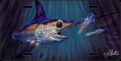 Jason Mathias Heavy Duty Aluminum Metal License Plates! Artwork of a Swordfish in the deep ocean chasing Squid is Featured in a Radiant Shiny High Gloss! A perfect gift for the avid fisherman who enjoys sportfishing, gamefish and art.