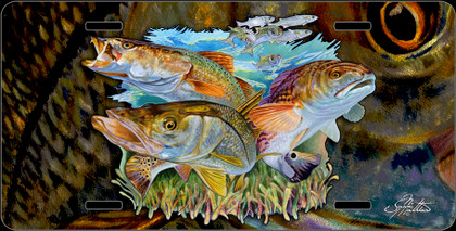 Jason Mathias Heavy Duty Aluminum Metal License Plates! Artwork of a Underwater Inshore Slam including the Snook, Redfish and Trout is Featured in a Radiant Shiny High Gloss! A perfect gift for the avid fisherman who enjoys sportfishing, gamefish and art.