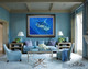 """""""Nautical Decor"""" by artist Jason Mathias, this beautiful painting of a Blue Marlin complements any interior and is a great fit as depicted."""
