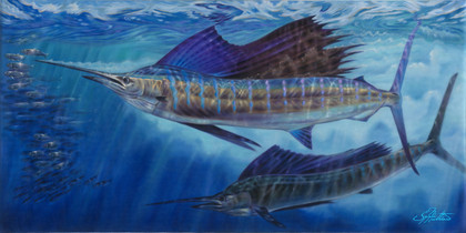 In this vision, skilled artist Jason Mathias masterfully portrays magestic Sailfish lighting up as they glide with effortless speed and control to out maneuver a school of Spanish Sardines.