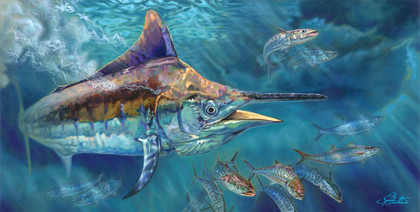 """In this vision, skilled artist Jason Mathias masterfully portrays a hulky thousand pound Black Marlin riping through a school of Shark Mackerel.ORIGINAL: Traditional painting,""""36x72"""" oil on canvas."""