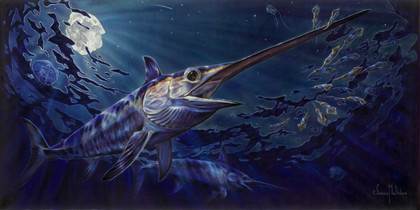 """In this vision, skilled artist Jason Mathias masterfully portrays a bioluminescent world where the elusive Swordfish cruises through the starry night's moonlit surface searching for squid that surface from the deep.ORIGINAL: Traditional painting,""""36x72"""" oil on canvas."""