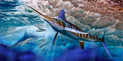 In this vision, skilled artist Jason Mathias masterfully portrays a majestic White Marlin lighting up as he surfs a wave, competing with a Spearfish to out maneuver a school of Spanish Sardines.