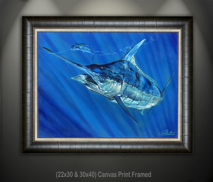In this vision, skilled artist Jason Mathias masterfully portrays a Blue Marlin lighting up as he rises on a rigged mackerel for the Big Rock Blue Marlin fishing tournament out of Morehead city NC.