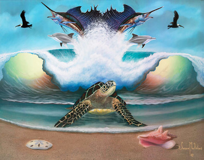 In this vision, skilled artist Jason Mathias masterfully portrays A Green Sea Turtle emerging out of the surf from a water world of Sailfish and Dolphins to greet the beach that ensures the next generation.