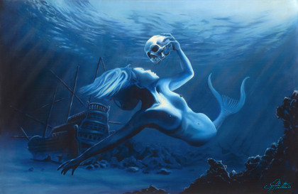In this vision, skilled artist Jason Mathias masterfully portrays this dramatic scene depicting a beautiful mermaid as she mourns the death of her lost pirate lover for all eternity.