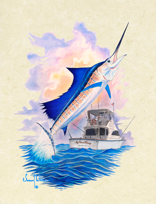 """In this vision, skilled artist Jason Mathias masterfully portrays a leaping Sailfish lighting up and thrashing while putting up a good fight aboard the """"My Other Honey""""."""