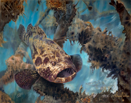 "In this vision, skilled artist Jason Mathias masterfully portrays a hulking Jewfish or ""Goliath Grouper"" standing guard over an old structure."