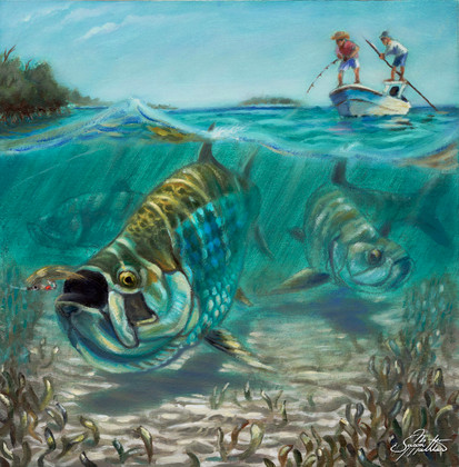 In this vision, skilled artist Jason Mathias masterfully portrays this split-perspective scene, a Tarpon in choppy water slurps a well-presented fly.