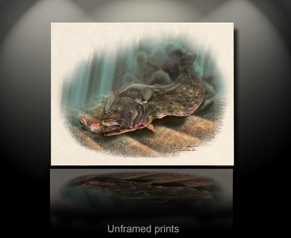 """Unframed prints"" In this vision, skilled artist Jason Mathias masterfully portrays a beautiful and accurate rendition of a natural ambush featuring a most prized species, the Fluke or Summer Flounder."