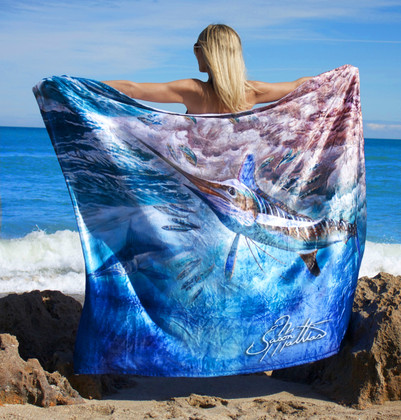 """Jason Mathias Fine Art Comfort Blankets are truly one of a kind. Snuggle up with this awesome life size oil painitng featuring a 50""""x70"""" life size image of an exquisite White Marlin by renowned artists Jason Mathias. This unique blanket was crafted with a totally unique Nano Graphic Ink Micro Fiber Fleece. This stunning blanket was crafted with a totally unique Nano Graphic Ink Micro Fiber Fleece. These amazing technological artistic comfort blankets display a vibrant Nano Graphic color application which appears translucent, an indescribable sheen which is caused by the refracting light within the unique properties of the micro fibers. Blankets are amazing, super soft and look totally awesome! """