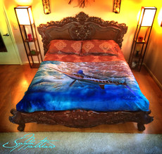 "Jason Mathias Fine Art Comfort Blankets are truly one of a kind. Snuggle up with this awesome product featuring a 50""x70"" life size image of an exquisite White Marlin oil painting by renowned artists Jason Mathias. This unique blanket was crafted with a totally unique Nano Graphic Ink Micro Fiber Fleece. These amazing technological artistic comfort blankets display a vibrant Nano Graphic color application which appears translucent, an indescribable sheen which is caused by the refracting light within the unique properties of the micro fibers. Blankets are amazing, super soft and look totally awesome! ­­"