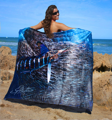 """Jason Mathias Fine Art Comfort Blankets are truly one of a kind. Snuggle up with this awesome life size oil painitng featuring a 50""""x70"""" exquisitely lit up Striped Marlin corralling an insanely detailed baitball by renowned artists Jason Mathias. This stunning blanket was crafted with a totally unique Nano Graphic Ink Micro Fiber Fleece. These amazing technological artistic comfort blankets display a vibrant Nano Graphic color application which appears translucent, an indescribable sheen which is caused by the refracting light within the unique properties of the micro fibers. Blankets are amazing, super soft and look totally awesome! """