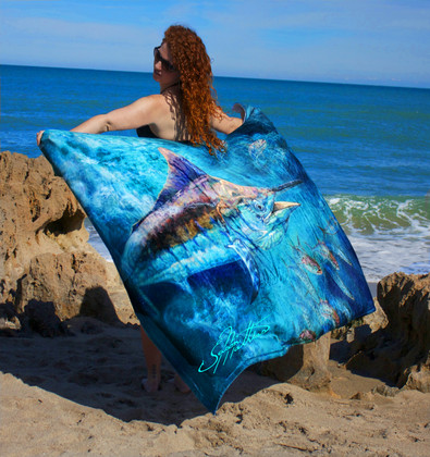 "Jason Mathias Fine Art Comfort Blankets are truly one of a kind. Snuggle up with this awesome life size oil painting featuring a 50""x70"" exquisitely lit up Black Marlin swimming through a school of insanely detailed mackerel by renowned artists Jason Mathias. This unique blanket was crafted with a totally unique Nano Graphic Ink Micro Fiber Fleece. These amazing technological artistic comfort blankets display a vibrant Nano Graphic color application which appears translucent, an indescribable sheen which is caused by the refracting light within the unique properties of the micro fibers. Blankets are amazing, super soft and look totally awesome! ­­"