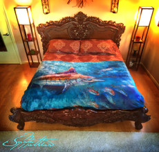 "Jason Mathias Fine Art Comfort Blankets are truly one of a kind. Snuggle up with this awesome product featuring a 50""x70"" life size oil painting of an exquisitely lit up Black Marlin swimming through a school of insanely detailed mackerel by renowned artists Jason Mathias. This unique blanket was crafted with a totally unique Nano Graphic Ink Micro Fiber Fleece. These amazing technological artistic comfort blankets display a vibrant Nano Graphic color application which appears translucent, an indescribable sheen which is caused by the refracting light within the unique properties of the micro fibers. Blankets are amazing, super soft and look totally awesome! ­­"