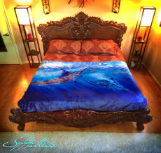 "Jason Mathias Fine Art Comfort Blankets are truly one of a kind. Snuggle up with this awesome life size oil painting featuring a 50""x70"" exquisitely lit up Blue Marlin swimming through a school of insanely detailed Tuna by renowned artists Jason Mathias. This unique blanket was crafted with a totally unique Nano Graphic Ink Micro Fiber Fleece. These amazing technological artistic comfort blankets display a vibrant Nano Graphic color application which appears translucent, an indescribable sheen which is caused by the refracting light within the unique properties of the micro fibers. Blankets are amazing, super soft and look totally awesome!"
