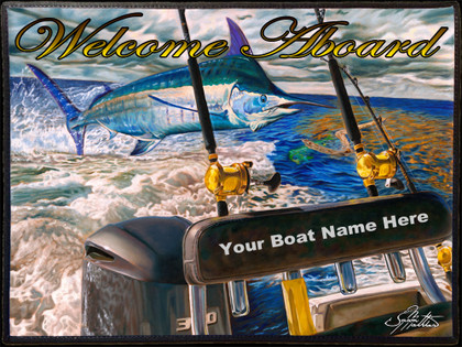 Custom fine art boat mats by renowned artist Jason Mathias. This beautiful customizable and personalized welcome aboard mat featuring the beautiful artwork of renowned artist Jason Mathias is sure to dress up your yacht or boat, making for a unique presentation. Totally customizable boat mats, perfect for charter boats, and yacht sales. Email us your logo and or boat name and we will make the perfect customized and personalized boat mat for you and your company using Jason Mathias's beautiful artwork.  Email us which Jason Mathias art piece you would like to use and your logo, boat name and or company name. Customizable mats take one week or less to complete. Email us at jasonmathiasart@gmail.com  Mats should not be placed into a cloths washer or dryer. They should be washed using a scrub brush and BLEACH FREE laundry detergent, rinsed and lined dried. We recommend spray on carpet cleaner used according to the directions on the can. You can safely hose off the mats as you wish.  Mats should not be left out in direct sunlight as the art will fade.