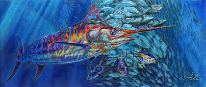 """Blue Mirage"" Unframed prints, by artist Jason Mathias masterfully portrays a brilliant Blue Marlin completely lit up and full of color as he balls up a massive school of Tuna."