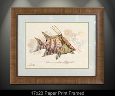 """Framed prints"" by artist Jason Mathias masterfully portrays a Hogfish changing its patterns to blend into a lightly suggested reef. This item features ""Hogfish"" in a Large framed limited giclee paper print. Print size is ""17x23"", frame size is ""29.5x35.5"". Beautifully framed with a nice honey color wood finish and professionally doubble matted for that high end museum quality fine art look."