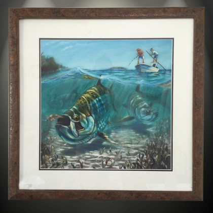 "This item features ""Tarpon Fever"" in a Mini framed limited giclee paper print. Print size is ""12x12"", frame size is ""20x20"". Beautifully framed with a nice wormwood frame and professionally doubble matted for that high end museum quality fine art look.   In this vision, skilled artist Jason Mathias masterfully portrays this split-perspective scene, a Tarpon in choppy water slurps a well-presented fly."