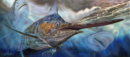 Blue Marlin art. Traditional oil painting of a massive Blue Marlin and sharks by Jason Mathias.