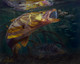 In this vision, renowned artist Jason Mathias portrays a lit up Snook ambushing a school of bait fish in the mangroves.
