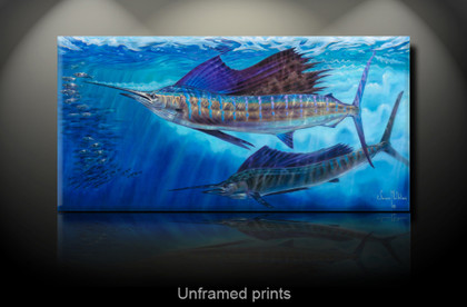 """Wide Open, unframed prints"" by artist Jason Mathias masterfully portrays majestic Sailfish lighting up as they glide with effortless speed and control to out maneuver a school of Spanish Sardines."