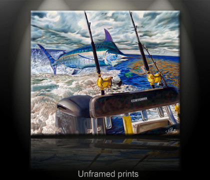 """""""Unframed fine art prints"""" of Port Rigger by artist Jason Mathias, a Blue Marlin painting depicting the exciting life of sport fishing and the spectacular scenes displayed by big gamefish."""