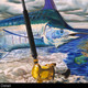 """""""Detail"""" of Port Rigger by artist Jason Mathias, a Blue Marlin painting depicting the exciting life of sport fishing and the spectacular scenes displayed by big gamefish."""