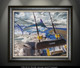 """""""Framed fine art prints"""" of Port Rigger by artist Jason Mathias, a Blue Marlin painting depicting the exciting life of sport fishing and the spectacular scenes displayed by big gamefish."""