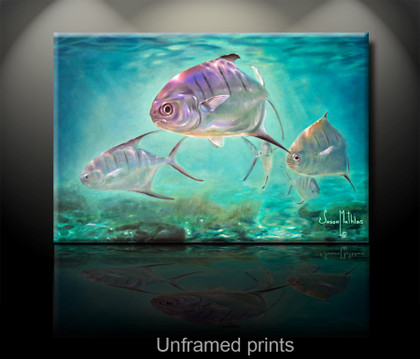 """Unframed prints"" by artist Jason Mathias masterfully portrays a school of nimble Palometa Pompano cut through blue-water shallows."