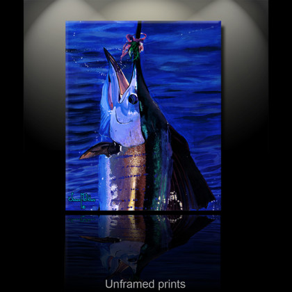 """Unframed prints"" by artist Jason Mathias masterfully portrays the majestic Sailfish surfacing to show off it's brilliant display of colors.."
