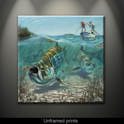 """Unframed prints"" by artist Jason Mathias masterfully portrays this split-perspective scene, a Tarpon in choppy water slurps a well-presented fly."