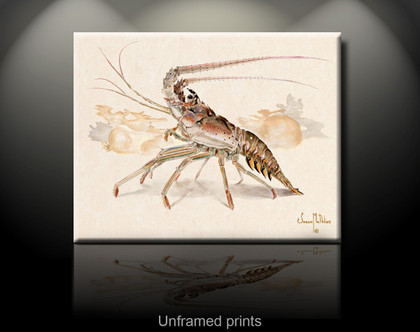 """Unframed prints"" by artist Jason Mathias masterfully portrays a Spiny Lobster cautiously marching across the sea floor with a lightly suggested reef in the background."