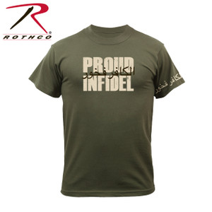 "61360-Proud Infidel-Olive Drab Tee Rothco's graphic t-shirt features an Infidel logo with corresponding text ""Proud Infidel"". Printing on the left shoulder also displays the Infidel logo."