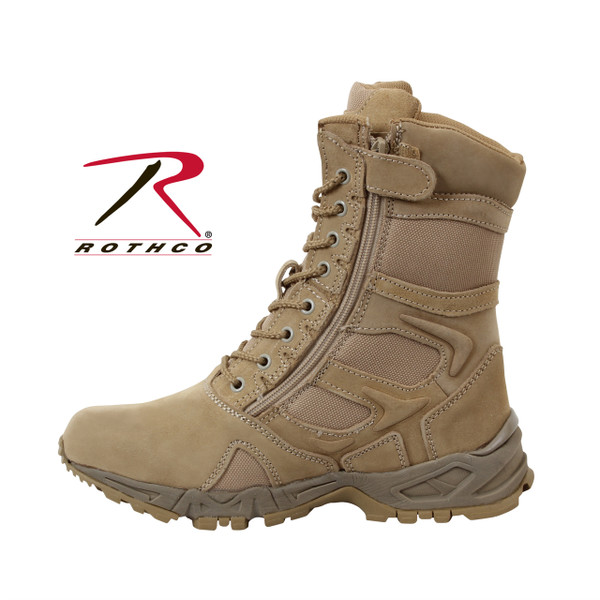 "Rothco Forced Entry Desert Tan 8"" Deployment Boots with Side Zipper features a running shoe Comfort with the durability and style of a military boot. The boot is constructed with suede leather upper with breathable mesh, padded comfort collar, side zipper, eva midsole / rubber outsole, steel shank, rust proof 8 eyelet lace system."