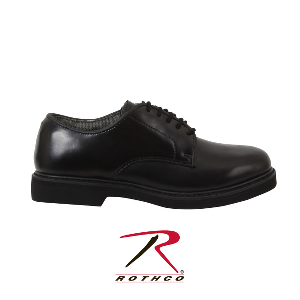 Rothco's Military Uniform Oxfords feature a leather upper, oil and slip resistant polyurethane sole, Goodyear welt construction, removable cushion insole and breathable Cambrelle lining. Rothco's Uniform Oxfords are a very popular & comfortable police shoe, available in sizes 4 to 15 regular & 7 to 13 wide. (Includes 1/2 sizes up to 11 1/2)