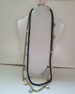 Black Bead and Gold Necklace Set