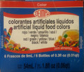 Artificial Liquid Food Color Set of 6 / Set de 6 Colorantes Artificiales Liquidos