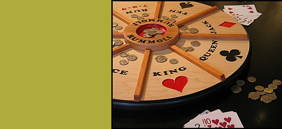 "Our 18"" Wooden Rummoli game revolves on a lazy susan!"