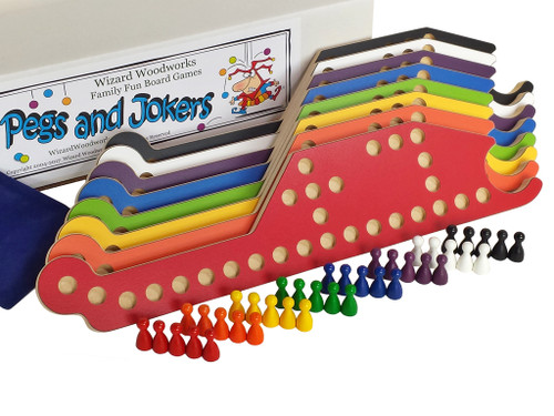 Pegs and Jokers complete 8-player game set includes 3 decks of cards and storage box.