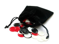 60 Mini Poker Chips in Velveteen Drawstring Pouch